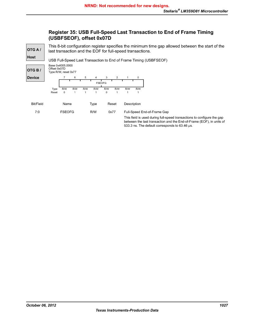 LM3S9D81 ,Texas Instruments厂商,Stellaris LM3S Microcontroller 108-NFBGA -40 to 85, LM3S9D81 datasheet预览  第1027页