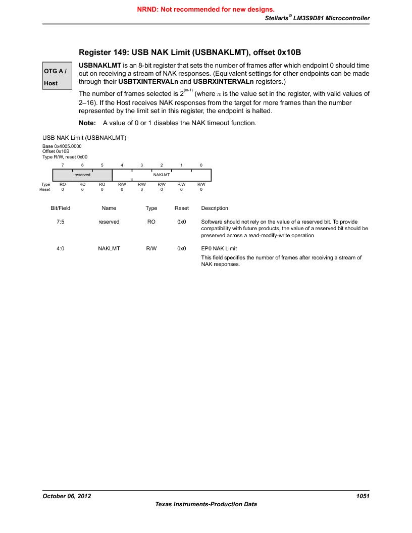 LM3S9D81 ,Texas Instruments厂商,Stellaris LM3S Microcontroller 108-NFBGA -40 to 85, LM3S9D81 datasheet预览  第1051页