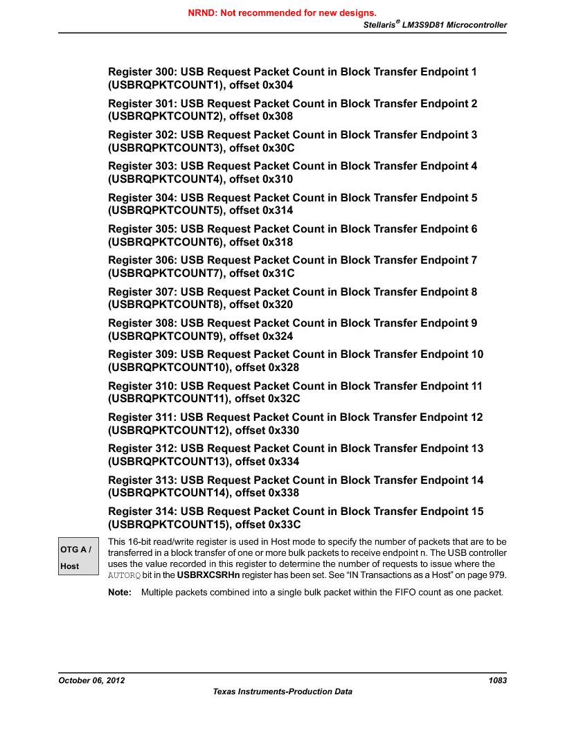 LM3S9D81 ,Texas Instruments厂商,Stellaris LM3S Microcontroller 108-NFBGA -40 to 85, LM3S9D81 datasheet预览  第1083页
