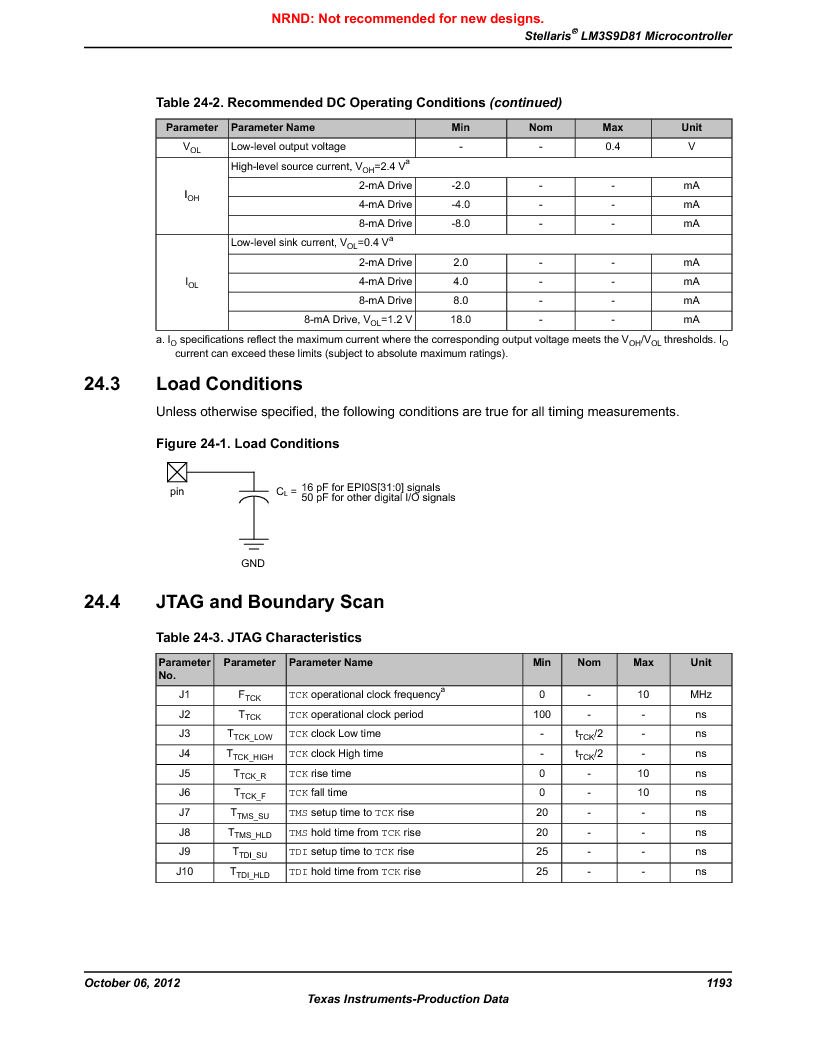 LM3S9D81 ,Texas Instruments厂商,Stellaris LM3S Microcontroller 108-NFBGA -40 to 85, LM3S9D81 datasheet预览  第1193页