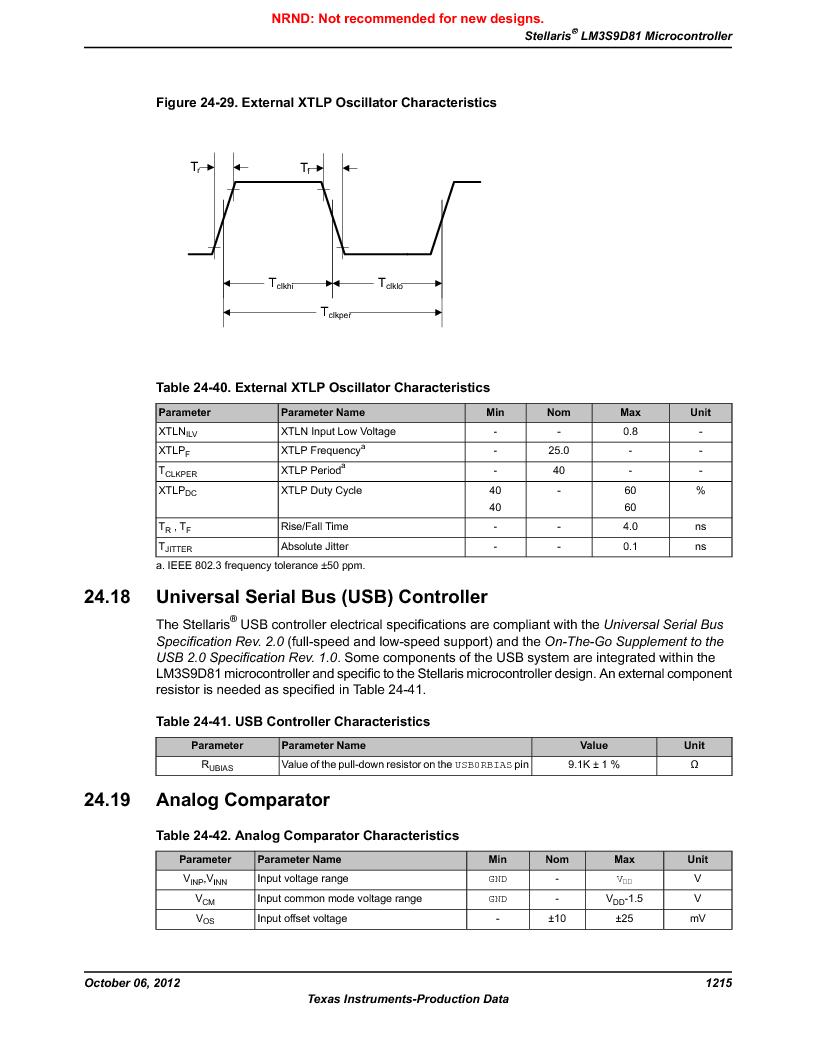LM3S9D81 ,Texas Instruments厂商,Stellaris LM3S Microcontroller 108-NFBGA -40 to 85, LM3S9D81 datasheet预览  第1215页