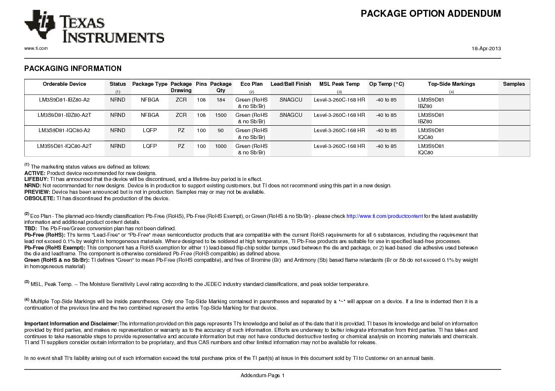 LM3S9D81 ,Texas Instruments厂商,Stellaris LM3S Microcontroller 108-NFBGA -40 to 85, LM3S9D81 datasheet预览  第1278页