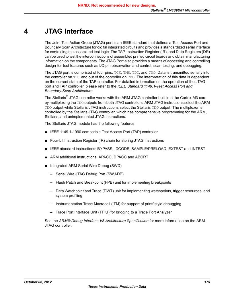 LM3S9D81 ,Texas Instruments厂商,Stellaris LM3S Microcontroller 108-NFBGA -40 to 85, LM3S9D81 datasheet预览  第175页