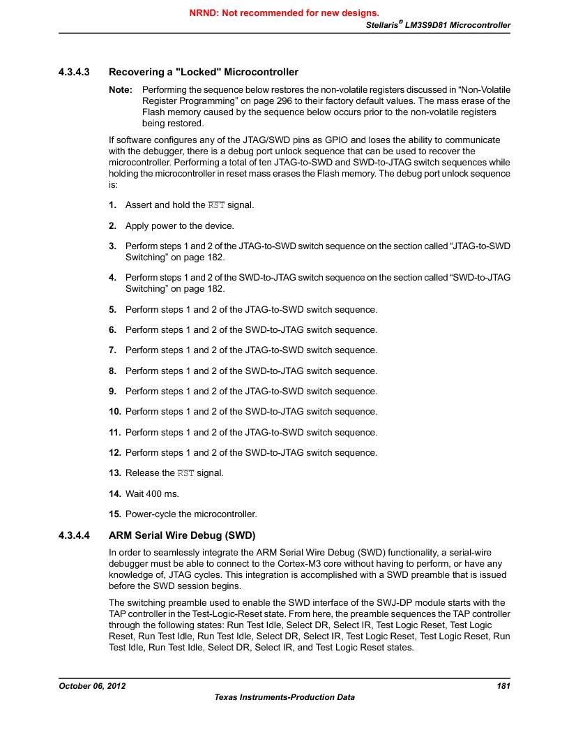 LM3S9D81 ,Texas Instruments厂商,Stellaris LM3S Microcontroller 108-NFBGA -40 to 85, LM3S9D81 datasheet预览  第181页