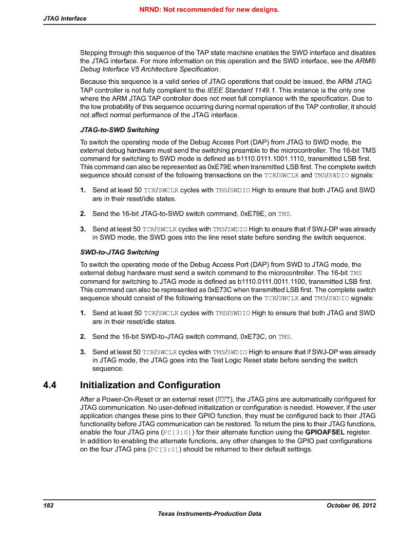 LM3S9D81 ,Texas Instruments厂商,Stellaris LM3S Microcontroller 108-NFBGA -40 to 85, LM3S9D81 datasheet预览  第182页
