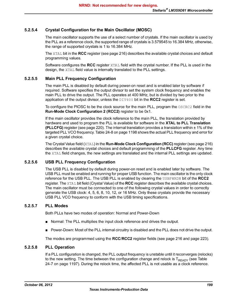 LM3S9D81 ,Texas Instruments厂商,Stellaris LM3S Microcontroller 108-NFBGA -40 to 85, LM3S9D81 datasheet预览  第199页