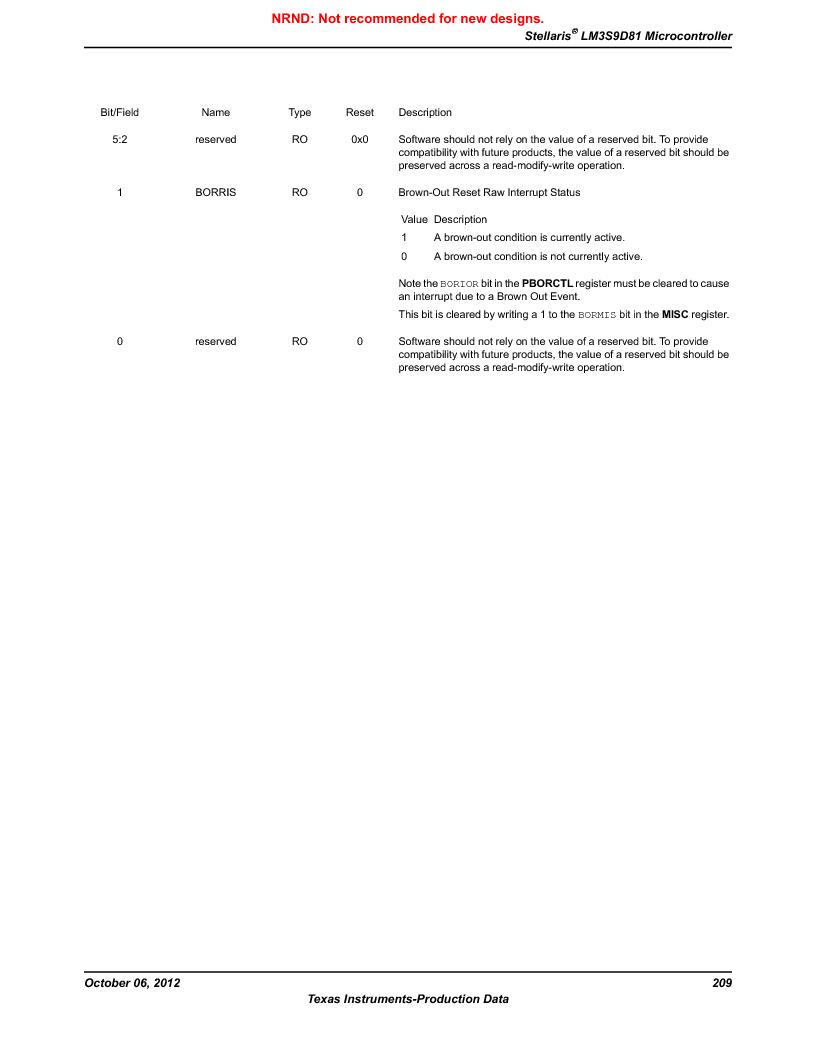 LM3S9D81 ,Texas Instruments厂商,Stellaris LM3S Microcontroller 108-NFBGA -40 to 85, LM3S9D81 datasheet预览  第209页