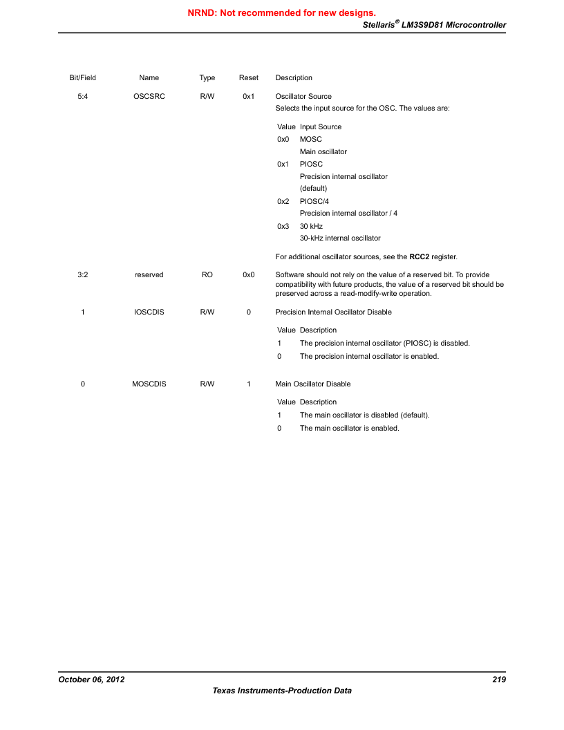 LM3S9D81 ,Texas Instruments厂商,Stellaris LM3S Microcontroller 108-NFBGA -40 to 85, LM3S9D81 datasheet预览  第219页
