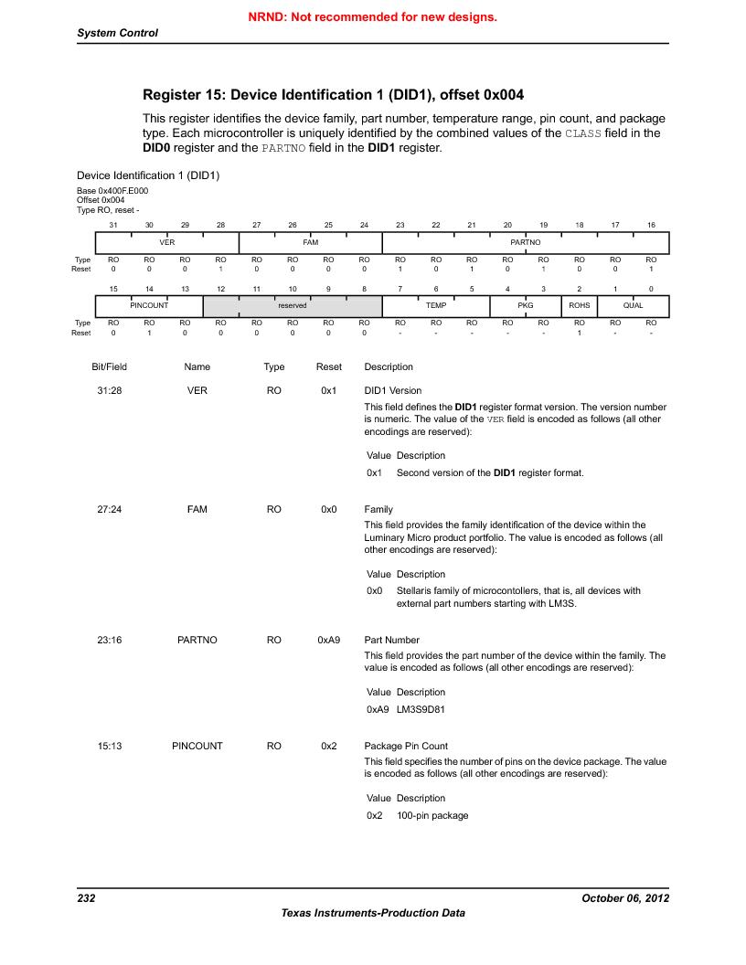 LM3S9D81 ,Texas Instruments厂商,Stellaris LM3S Microcontroller 108-NFBGA -40 to 85, LM3S9D81 datasheet预览  第232页