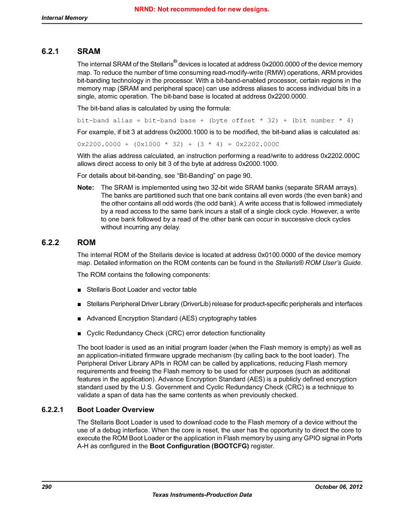 LM3S9D81 ,Texas Instruments厂商,Stellaris LM3S Microcontroller 108-NFBGA -40 to 85, LM3S9D81 datasheet预览  第290页