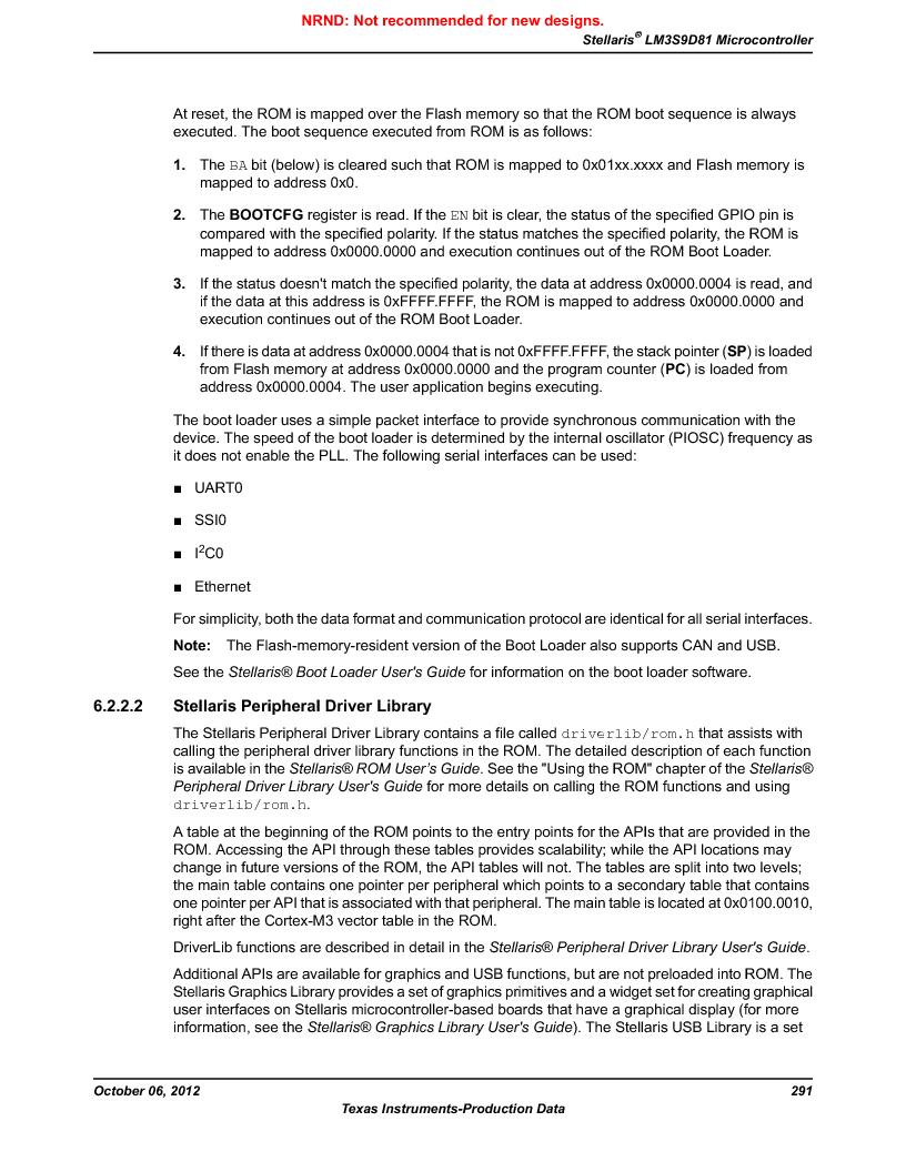 LM3S9D81 ,Texas Instruments厂商,Stellaris LM3S Microcontroller 108-NFBGA -40 to 85, LM3S9D81 datasheet预览  第291页