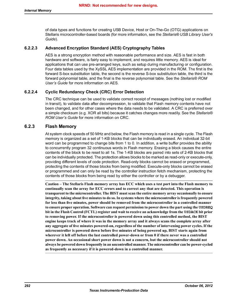 LM3S9D81 ,Texas Instruments厂商,Stellaris LM3S Microcontroller 108-NFBGA -40 to 85, LM3S9D81 datasheet预览  第292页