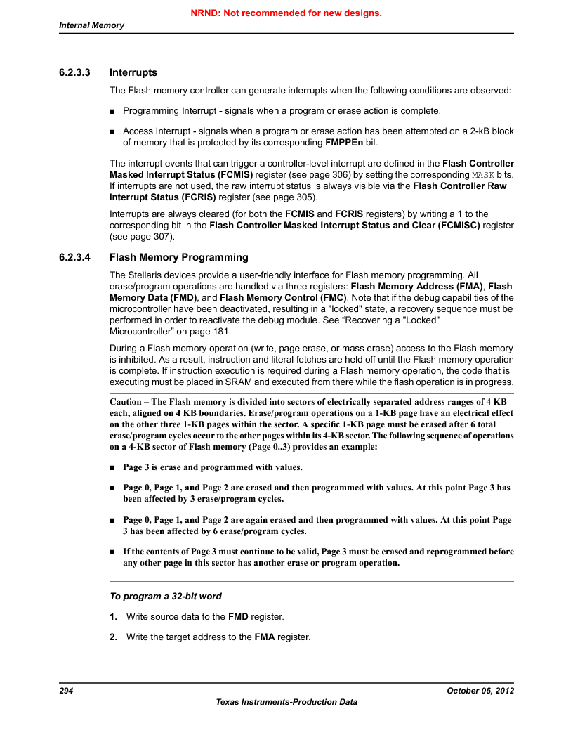 LM3S9D81 ,Texas Instruments厂商,Stellaris LM3S Microcontroller 108-NFBGA -40 to 85, LM3S9D81 datasheet预览  第294页
