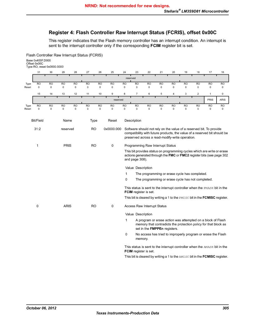 LM3S9D81 ,Texas Instruments厂商,Stellaris LM3S Microcontroller 108-NFBGA -40 to 85, LM3S9D81 datasheet预览  第305页
