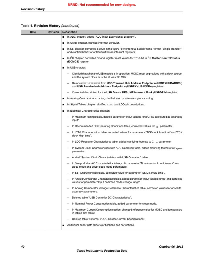 LM3S9D81 ,Texas Instruments厂商,Stellaris LM3S Microcontroller 108-NFBGA -40 to 85, LM3S9D81 datasheet预览  第40页