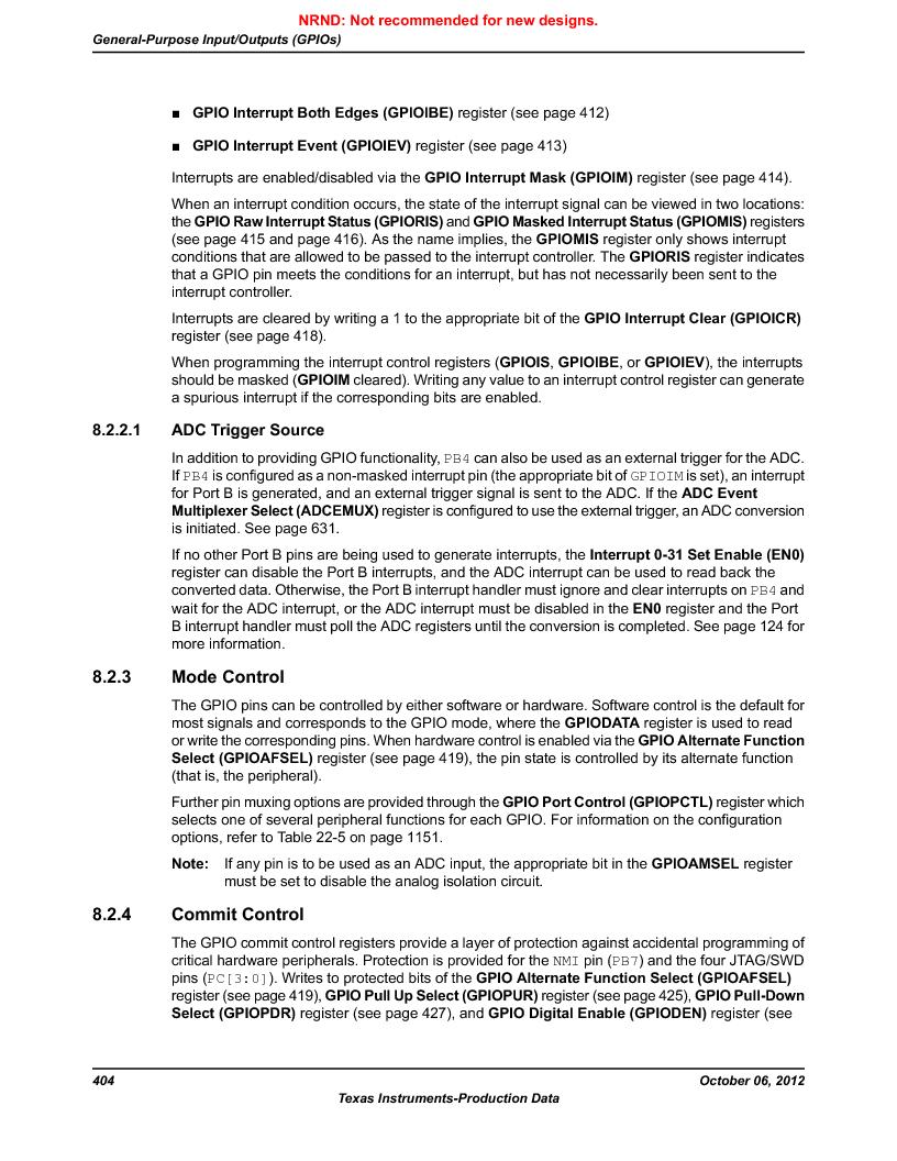 LM3S9D81 ,Texas Instruments厂商,Stellaris LM3S Microcontroller 108-NFBGA -40 to 85, LM3S9D81 datasheet预览  第404页