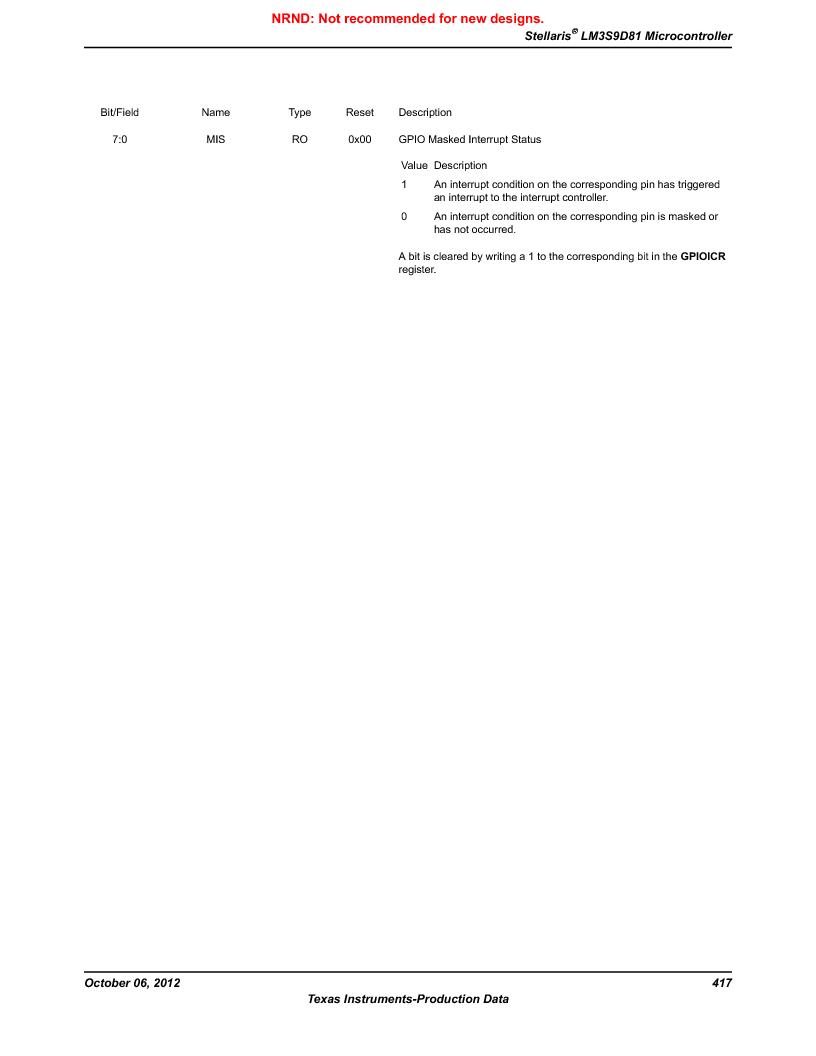 LM3S9D81 ,Texas Instruments厂商,Stellaris LM3S Microcontroller 108-NFBGA -40 to 85, LM3S9D81 datasheet预览  第417页