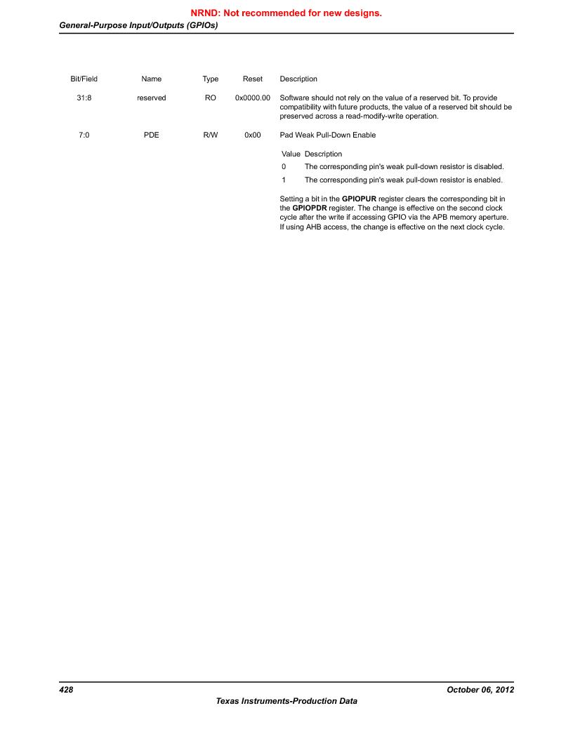 LM3S9D81 ,Texas Instruments厂商,Stellaris LM3S Microcontroller 108-NFBGA -40 to 85, LM3S9D81 datasheet预览  第428页