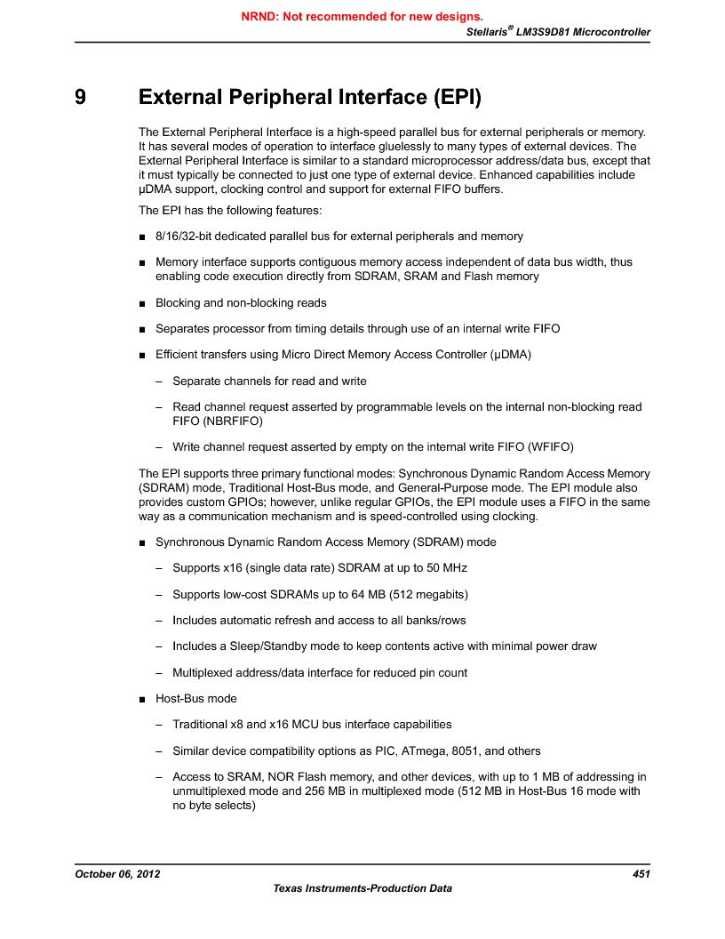 LM3S9D81 ,Texas Instruments厂商,Stellaris LM3S Microcontroller 108-NFBGA -40 to 85, LM3S9D81 datasheet预览  第451页