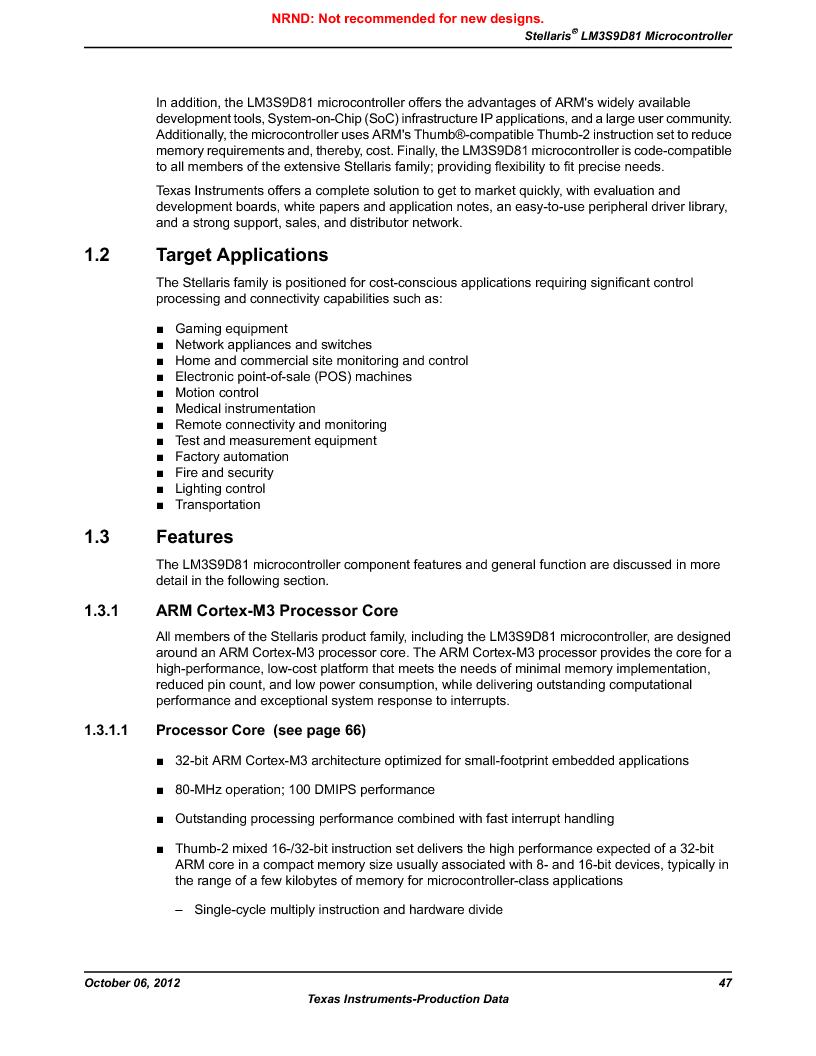 LM3S9D81 ,Texas Instruments厂商,Stellaris LM3S Microcontroller 108-NFBGA -40 to 85, LM3S9D81 datasheet预览  第47页