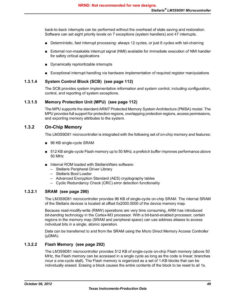 LM3S9D81 ,Texas Instruments厂商,Stellaris LM3S Microcontroller 108-NFBGA -40 to 85, LM3S9D81 datasheet预览  第49页