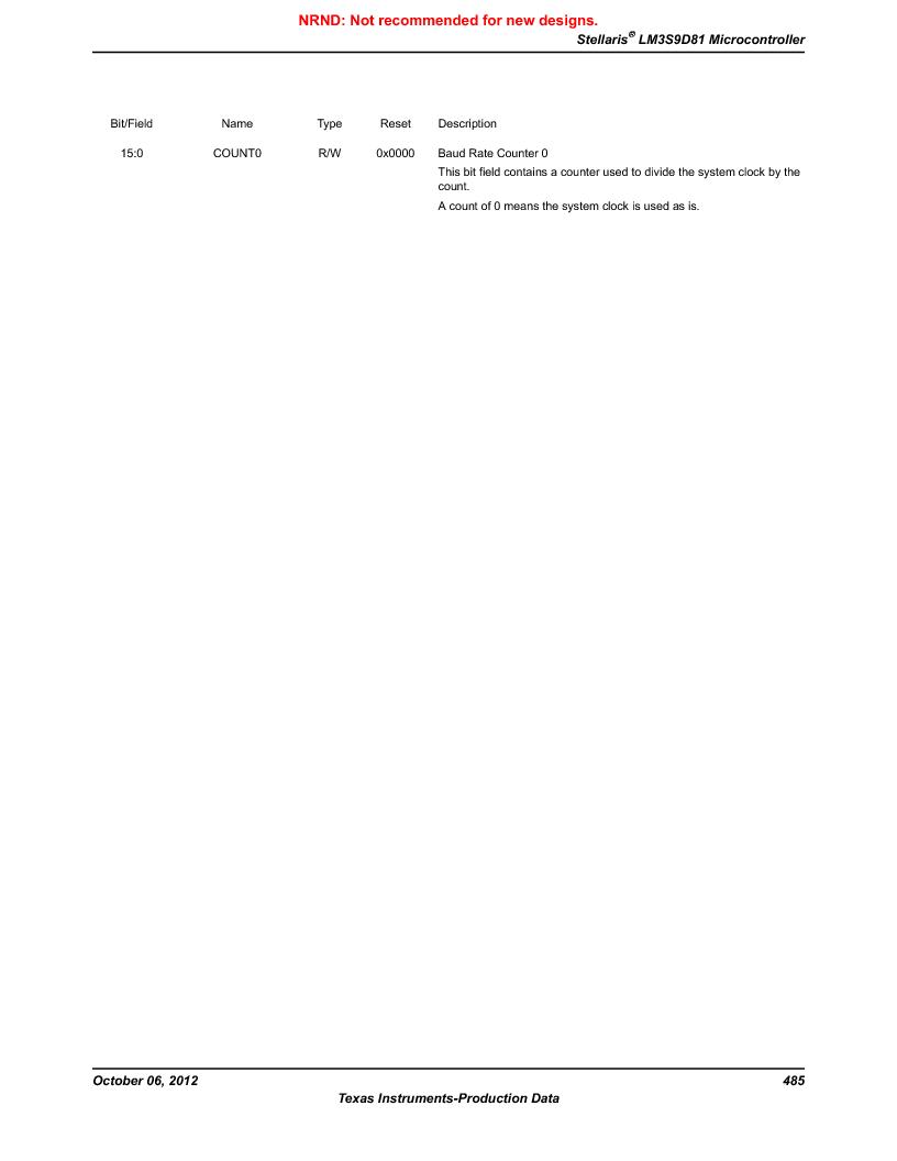LM3S9D81 ,Texas Instruments厂商,Stellaris LM3S Microcontroller 108-NFBGA -40 to 85, LM3S9D81 datasheet预览  第485页