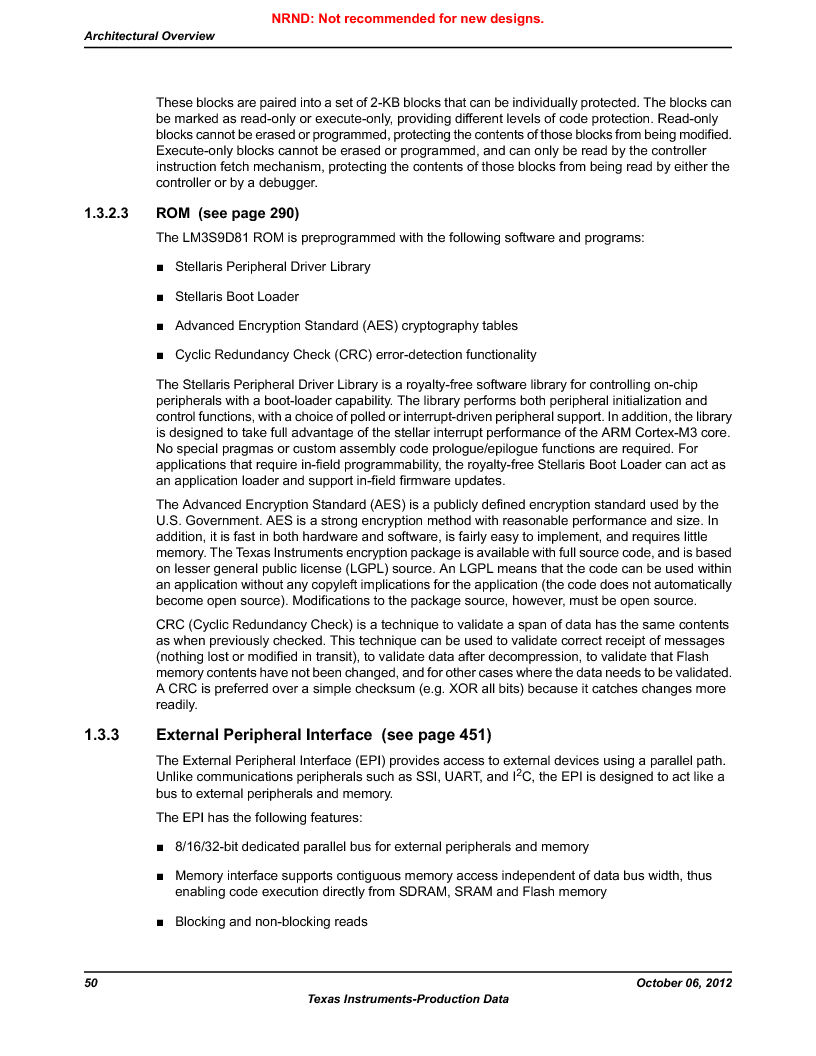 LM3S9D81 ,Texas Instruments厂商,Stellaris LM3S Microcontroller 108-NFBGA -40 to 85, LM3S9D81 datasheet预览  第50页