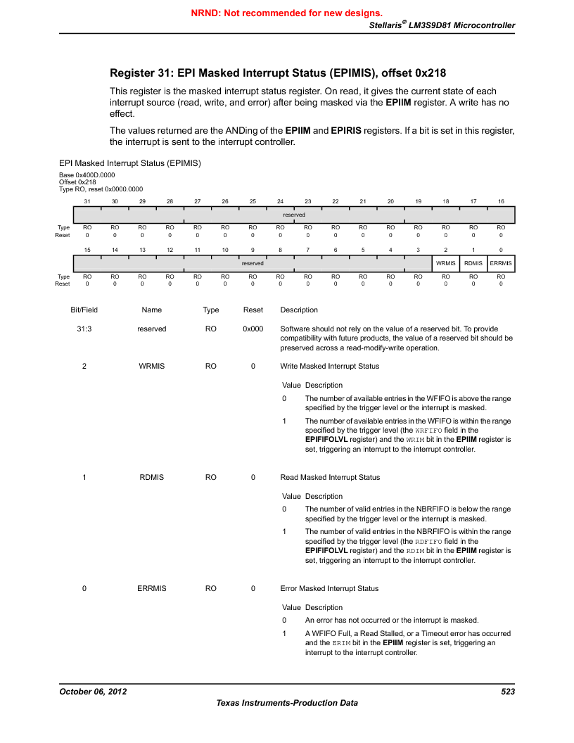 LM3S9D81 ,Texas Instruments厂商,Stellaris LM3S Microcontroller 108-NFBGA -40 to 85, LM3S9D81 datasheet预览  第523页