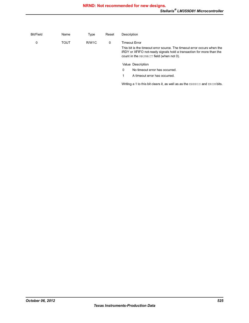 LM3S9D81 ,Texas Instruments厂商,Stellaris LM3S Microcontroller 108-NFBGA -40 to 85, LM3S9D81 datasheet预览  第525页