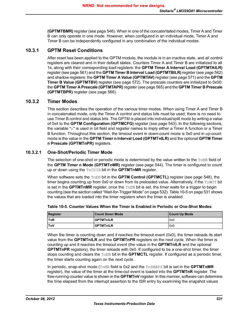 LM3S9D81 ,Texas Instruments厂商,Stellaris LM3S Microcontroller 108-NFBGA -40 to 85, LM3S9D81 datasheet预览  第531页