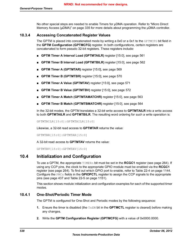 LM3S9D81 ,Texas Instruments厂商,Stellaris LM3S Microcontroller 108-NFBGA -40 to 85, LM3S9D81 datasheet预览  第538页
