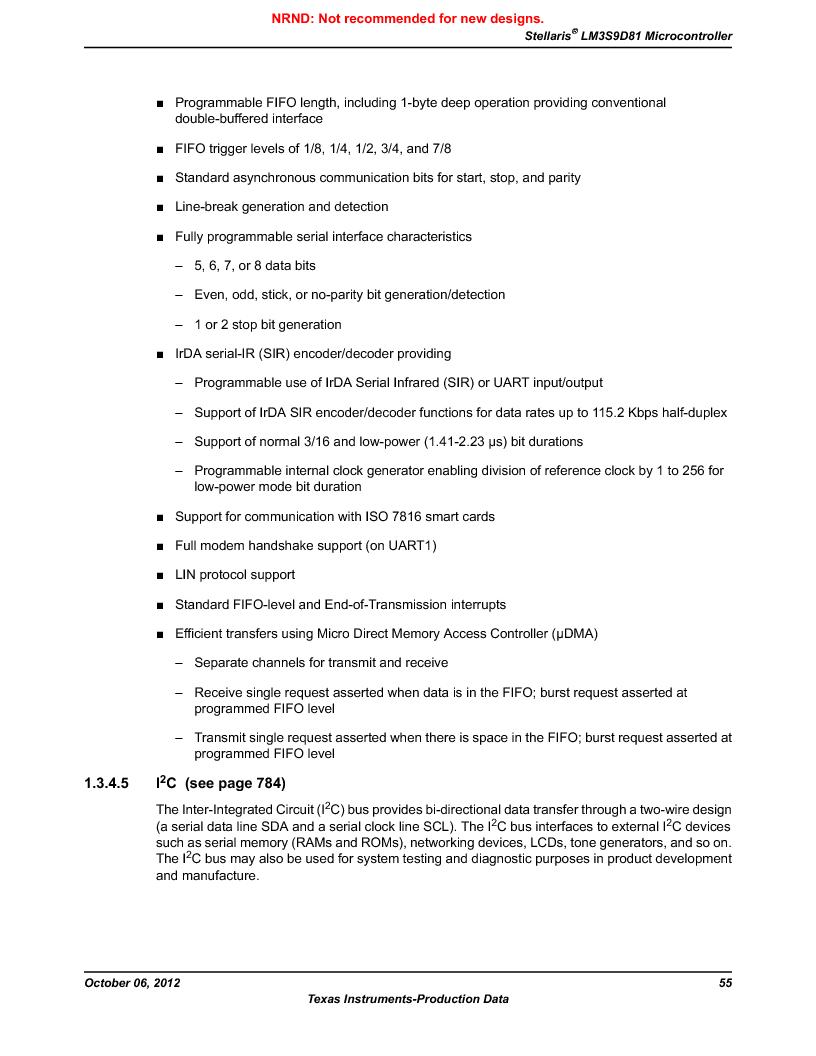 LM3S9D81 ,Texas Instruments厂商,Stellaris LM3S Microcontroller 108-NFBGA -40 to 85, LM3S9D81 datasheet预览  第55页
