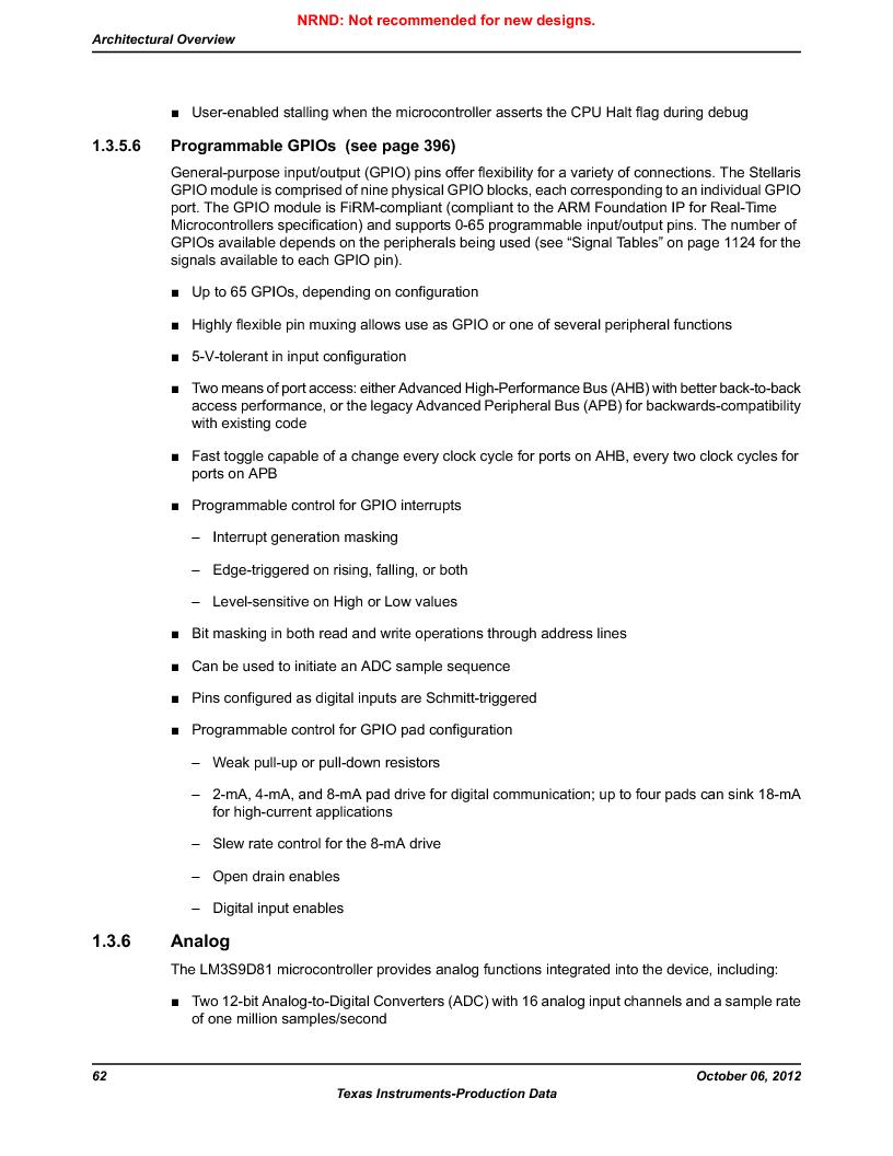 LM3S9D81 ,Texas Instruments厂商,Stellaris LM3S Microcontroller 108-NFBGA -40 to 85, LM3S9D81 datasheet预览  第62页