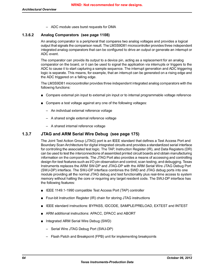 LM3S9D81 ,Texas Instruments厂商,Stellaris LM3S Microcontroller 108-NFBGA -40 to 85, LM3S9D81 datasheet预览  第64页