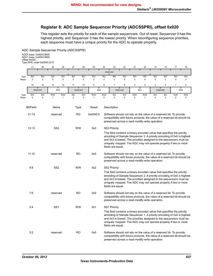 LM3S9D81 ,Texas Instruments厂商,Stellaris LM3S Microcontroller 108-NFBGA -40 to 85, LM3S9D81 datasheet预览  第637页