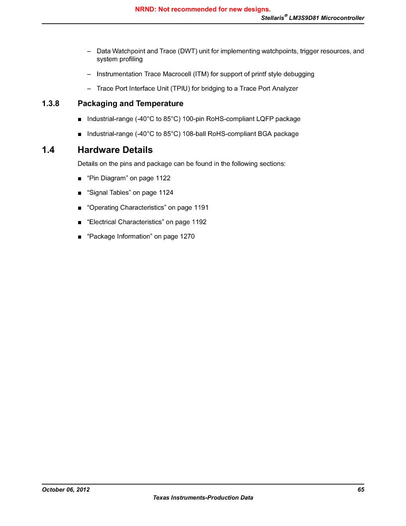 LM3S9D81 ,Texas Instruments厂商,Stellaris LM3S Microcontroller 108-NFBGA -40 to 85, LM3S9D81 datasheet预览  第65页