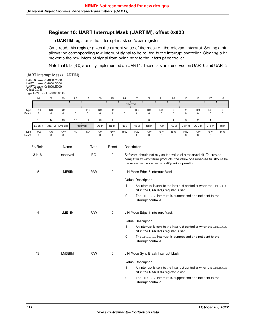 LM3S9D81 ,Texas Instruments厂商,Stellaris LM3S Microcontroller 108-NFBGA -40 to 85, LM3S9D81 datasheet预览  第712页