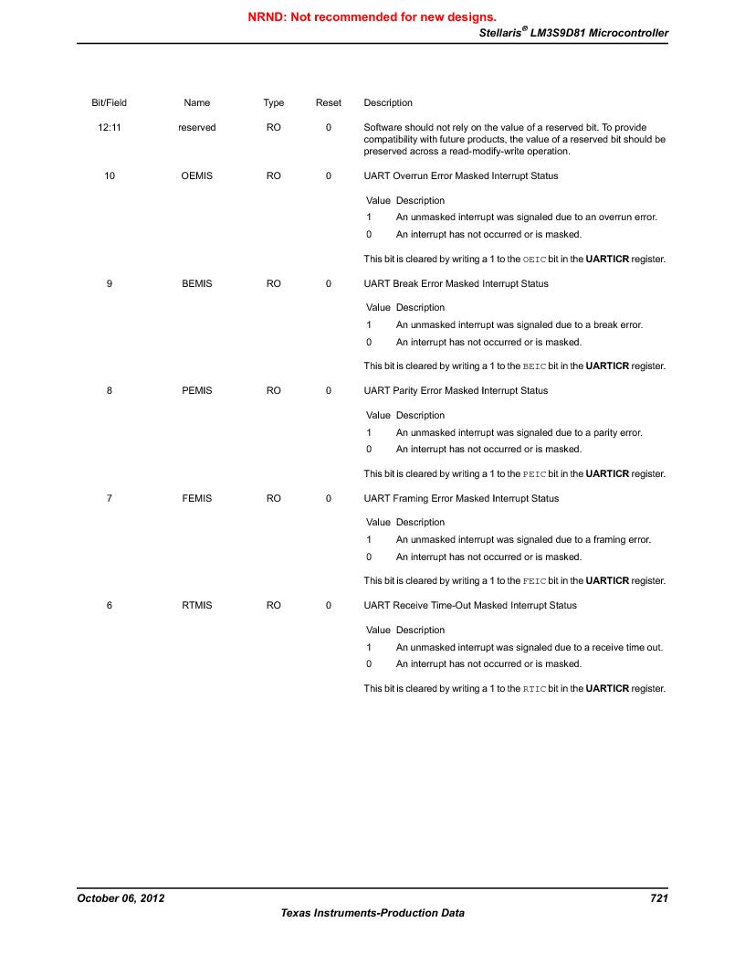 LM3S9D81 ,Texas Instruments厂商,Stellaris LM3S Microcontroller 108-NFBGA -40 to 85, LM3S9D81 datasheet预览  第721页