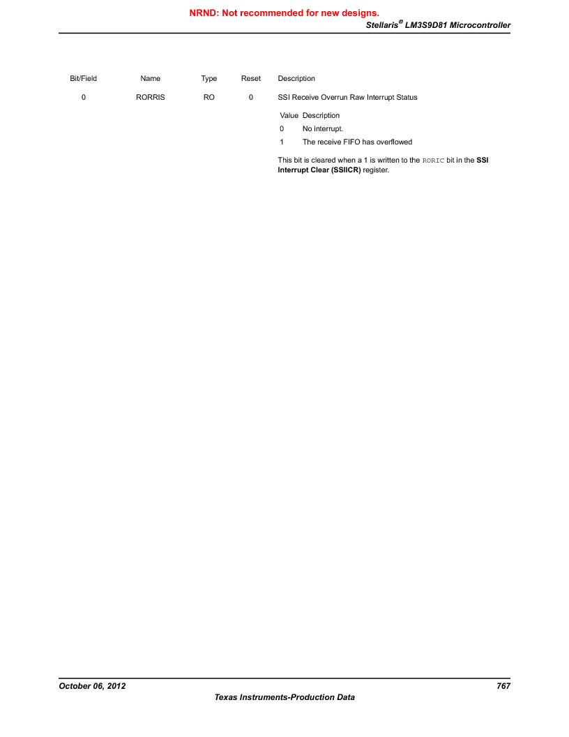 LM3S9D81 ,Texas Instruments厂商,Stellaris LM3S Microcontroller 108-NFBGA -40 to 85, LM3S9D81 datasheet预览  第767页