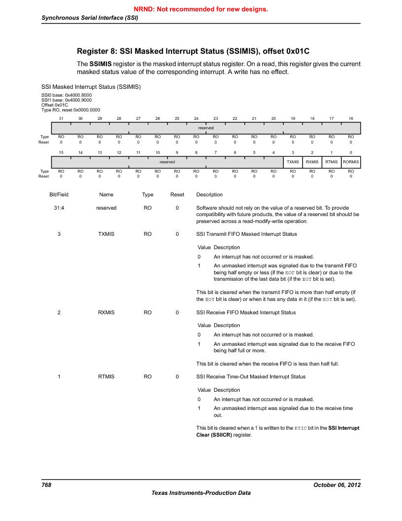 LM3S9D81 ,Texas Instruments厂商,Stellaris LM3S Microcontroller 108-NFBGA -40 to 85, LM3S9D81 datasheet预览  第768页