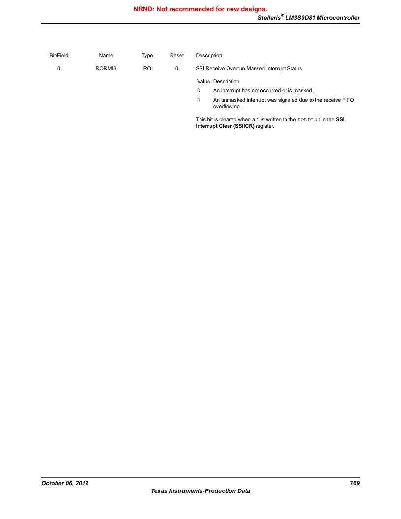 LM3S9D81 ,Texas Instruments厂商,Stellaris LM3S Microcontroller 108-NFBGA -40 to 85, LM3S9D81 datasheet预览  第769页