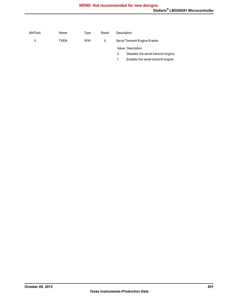 LM3S9D81 ,Texas Instruments厂商,Stellaris LM3S Microcontroller 108-NFBGA -40 to 85, LM3S9D81 datasheet预览  第851页