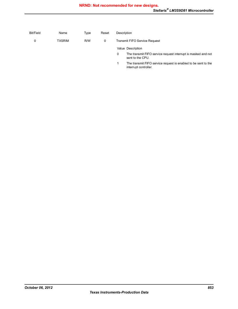 LM3S9D81 ,Texas Instruments厂商,Stellaris LM3S Microcontroller 108-NFBGA -40 to 85, LM3S9D81 datasheet预览  第853页