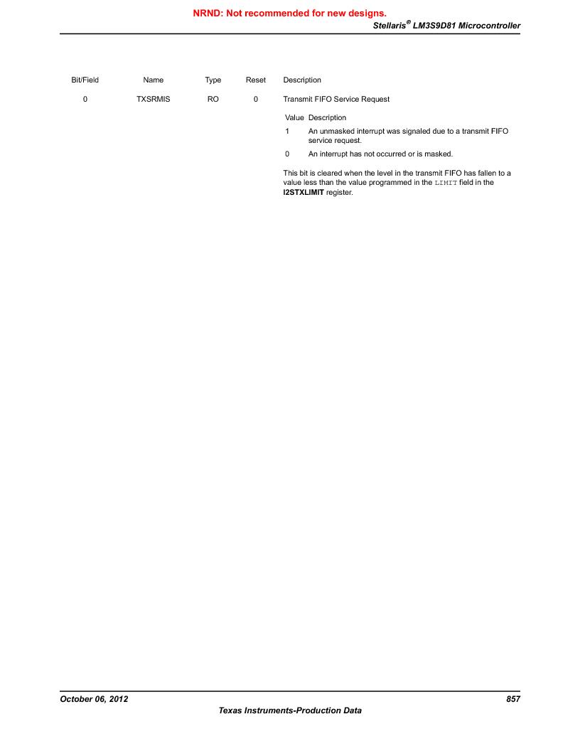 LM3S9D81 ,Texas Instruments厂商,Stellaris LM3S Microcontroller 108-NFBGA -40 to 85, LM3S9D81 datasheet预览  第857页