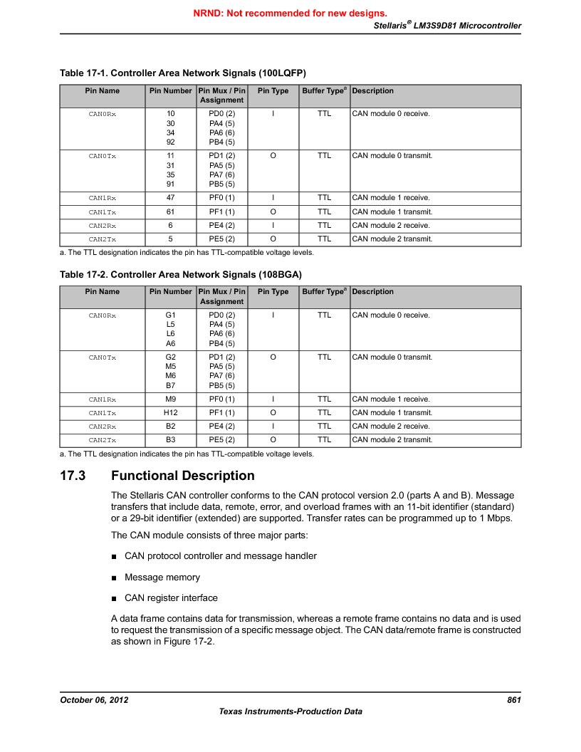 LM3S9D81 ,Texas Instruments厂商,Stellaris LM3S Microcontroller 108-NFBGA -40 to 85, LM3S9D81 datasheet预览  第861页