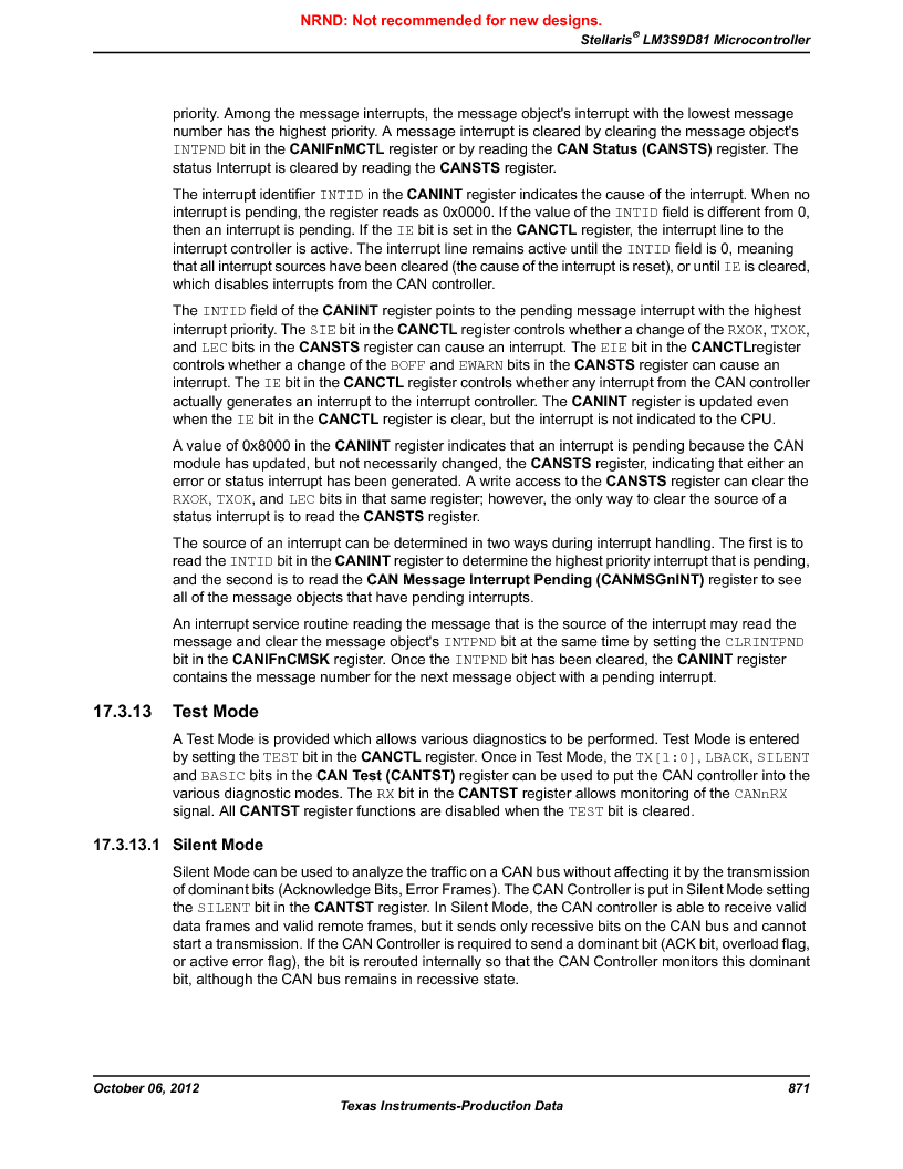 LM3S9D81 ,Texas Instruments厂商,Stellaris LM3S Microcontroller 108-NFBGA -40 to 85, LM3S9D81 datasheet预览  第871页