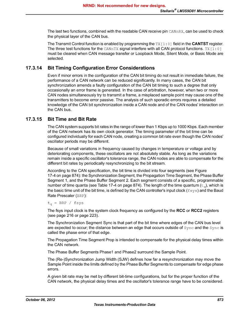 LM3S9D81 ,Texas Instruments厂商,Stellaris LM3S Microcontroller 108-NFBGA -40 to 85, LM3S9D81 datasheet预览  第873页