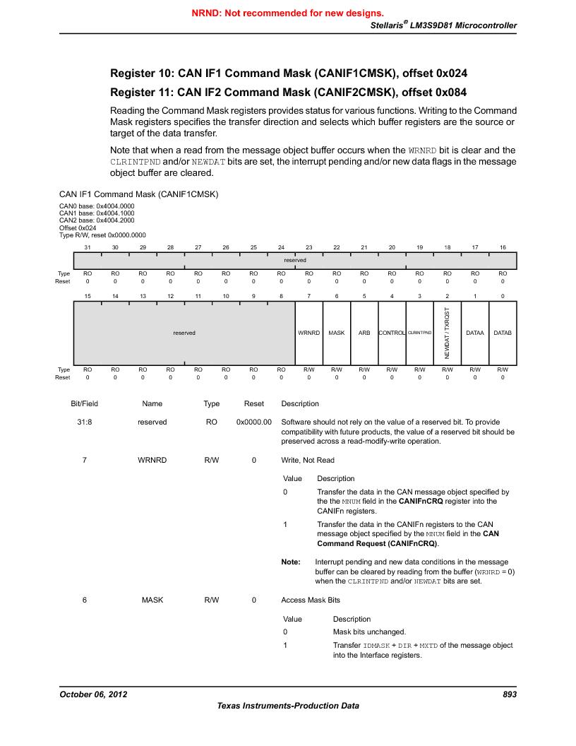 LM3S9D81 ,Texas Instruments厂商,Stellaris LM3S Microcontroller 108-NFBGA -40 to 85, LM3S9D81 datasheet预览  第893页