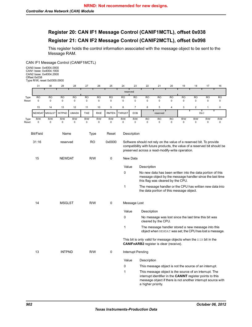 LM3S9D81 ,Texas Instruments厂商,Stellaris LM3S Microcontroller 108-NFBGA -40 to 85, LM3S9D81 datasheet预览  第902页