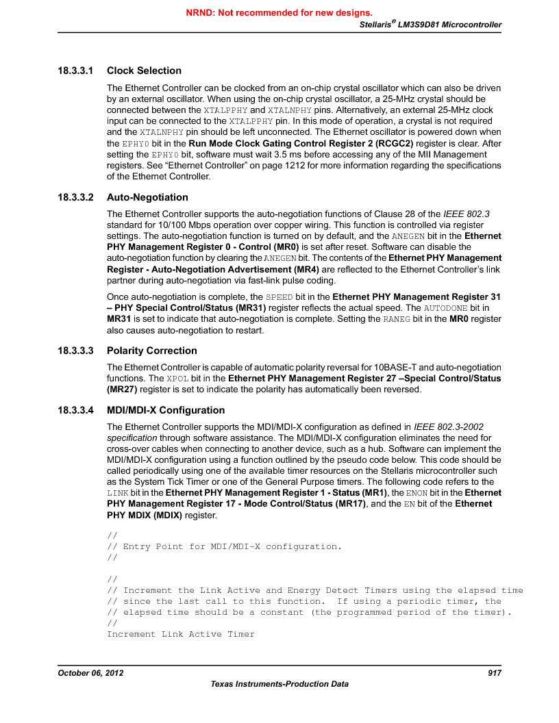 LM3S9D81 ,Texas Instruments厂商,Stellaris LM3S Microcontroller 108-NFBGA -40 to 85, LM3S9D81 datasheet预览  第917页